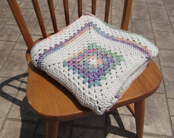 Granny Square 3x3 Block Crocheted Baby Blanket-Crocheted Baby Blanket-Granny Square Throw