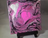 Mixed Emotions metallic abstract pour painting artwork 4x4 display pink white metallic pearl