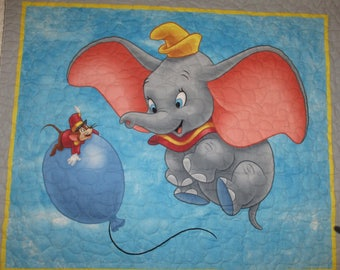 Pre quilted ,double faced,Dumbo Elephant, blue pin dot on back