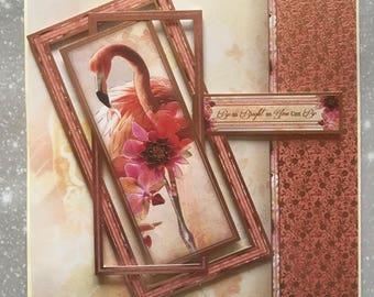 Handmade Flamingo Birthday Card