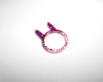 Resin - bunny ears ring - size M