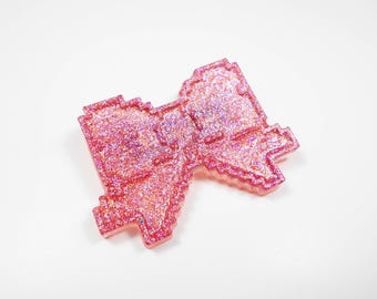Kawaii bow pastel kawaii pixel gamer geek badge brooch