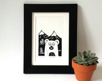 Linocut bear, forest friend, bear linoprint, linocut print, art postcard, nursery wall decor,  woodland bear, teddy bear print, toybear