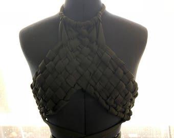 Hand woven festival crop top