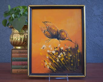Vintage butterfly painting; Framed and signed butterfly painting