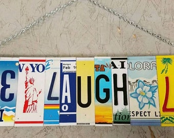 License plate wall art - Live Laugh Love