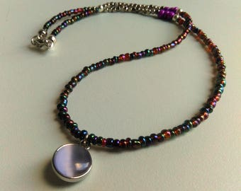 Multi Color Charm Necklace, Colorful Beaded Necklace, Purple Lilac Rainbow Necklace, Beaded Necklace Handmade, Metallic Long Necklace