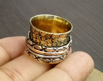 Star Spinner Rings | Indian Fashion Ring | Birthday gift jewelry rings | Anniversary gift rings | Unisex prayer rings | Worry Ring | R30