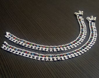 Colorful barefoot anklets | Trending Indian silver anklets | Wedding wear anklets | Indian payal anklets | Fusion boho jewelry anklet | A205