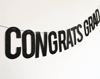 Congrats Grad glitter banner