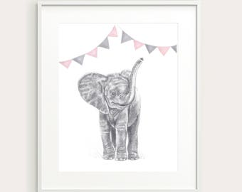 Baby Elephant, Flags.Nursery/Kid's Wall Decor.Wall Art. Art Print.Kid's Room Print.Nursery Art. Baby Animal. Baby Wall Art. Nursery Print.