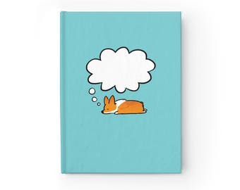 NEW! Corgi Dreams Hardcover Sketchbook | Semi-gloss Hardcover 8x5 inches Blank or Ruled Paper | 128 Pages 90gsm | Customizable Customizable