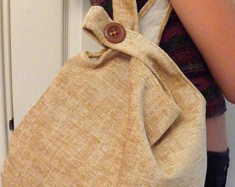 Japanese Knot Bag, Shoulder Bag, Golden Velvet Fabric, Lined with Interfacing