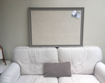 Large grey pin board. Grey notice board. Grey bulletin board. Fabric memo board. Fabric message board. Hessian cork board. Hessian pin board