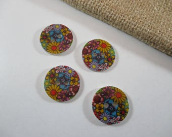 Round buttons, Pearl, flower, multicolored patterned.