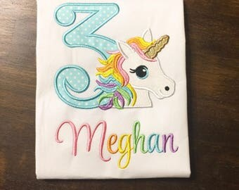 Unicorn Birthday Shirt // Rainbow Unicorn Birthday Shirt // Girl Birthday Shirt // Monogrammed Birthday Shirt // Unicorn 2nd 3rd 4th 5th 6th