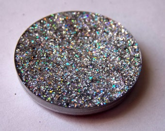 BISCUIT ~ holographic silver pressed glitter eyeshadow, eye glitter, holographic cruelty free makeup, duochrome eyeshadow, vegan makeup