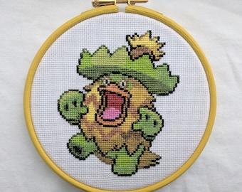 """Ludicolo Pokemon Cross Stitch in 5"""" Hoop"""
