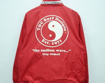 "T&C Surf Designs Sweater Vintage T and C Surf Designs Taped Logo ""The Endless Wave"" Sweater Jacket Size M"