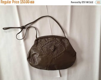 20% OFF SALE... dark taupe patchwork bag    80s reptile printed leather framed purse