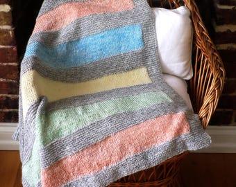 Blanket Knit Kit - baby blanket - knitting pattern - naturally dyed yarn