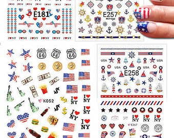 Nail Art Stickers Self-adhesive American Flag 4th of July Independence Day USA