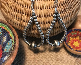 Navajo Sterling Silver Beaded Dangle Earrings