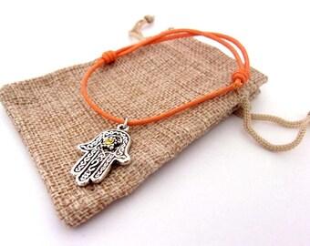 Cotton cord bracelet and Hamsa hand charm