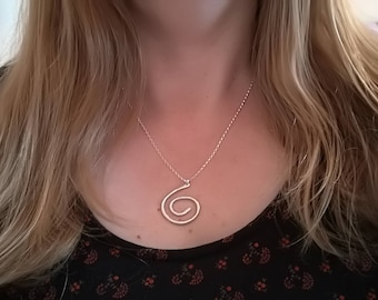 Sterling silver Celtic swirl coiled necklace, rustic artisan Valentine gift for him or her