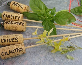 Wine Cork Beaded Plant Markers - Herb Group One, Set of 5