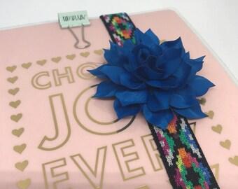 Royal Blue Flower Planner Band for Happy Planner Erin Condren Planner Notebooks Back To School Boho Floral Girly School Supplies