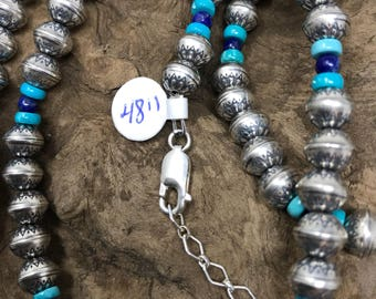 Navajo Pearls - 48 Inch Necklace of Sterling Silver Stamped beads w Lapis Lazuli & Turquoise - Navajo Jewelry - Chatfields Jewelry  - Chain