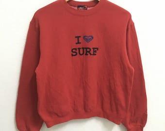 RARE!!! ROXY Surfboard Surf Big Logo Crew Neck Red Colour Sweatshirts Hip Hop Swag M (Ladies) Size