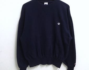 RARE!!! Champion Small Logo Embroidery Crew Neck Dark Blue Colour Sweatshirts Hip Hop Swag L Size