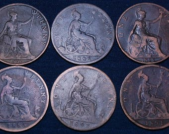 6 Old Large British Copper Pennies, Late 1800's, 30 mm (1.2 inches) Each