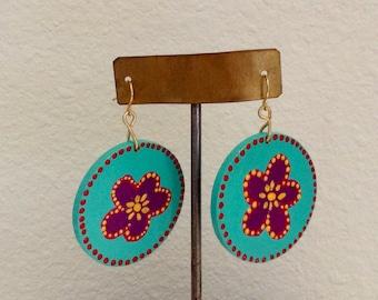 Earrings, unique painted flowers