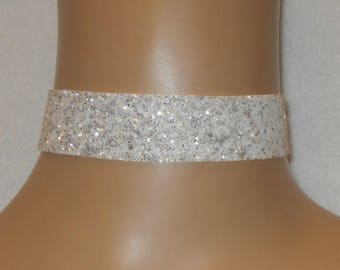 White & Silver Glitter Fabric Choker Satin Ribbon Tie Wedding Free Size