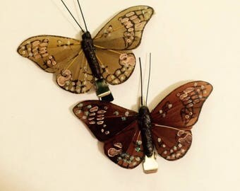 Brown Silk Butterfly hair clips, sold in a set of two