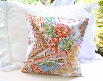 Accent Pillow, Vintage Hankie Pillow Cover, Crazy Quilt Pillow, Handkerchief Pillow Coral Orange Throw Pillow, Country Cottage, Patchwork