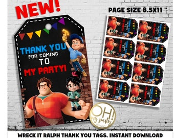 WRECK IT RALPH thank you tags, wreck it ralph party,wreck it ralph birthday,wreck it ralph,wreck it ralph printable,wreck it ralph favors
