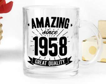 Birthday clear glass mug, great present for 60th birthday