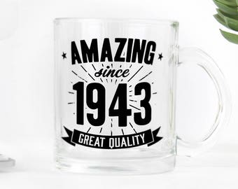 Birthday clear glass mug, great present for 75th birthday