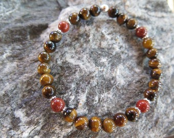 Tiger's eye Bracelet with Red Jesper Stones and 925 Silver