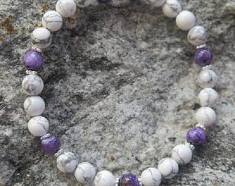 Magnesite bracelet with Charoite and 925 Silver Jewellery -Unique-