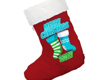 Personalised Merry s Large White Christmas Stocking Gift Bag With White Fur Trim