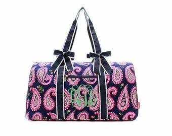 Navy and Pink Paisley duffle bag, Monogrammed duffel bag Personalized Tote Paisley Travel Tote Cheer Gym Paisley Weekender