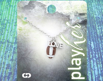 Customized Football Love Enamel Necklace - Personalize with Jersey Number, Heart Charm, or Letter Charm! Great Football Mom Gift!