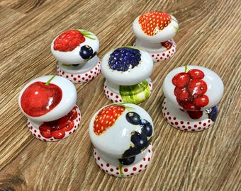 "1.5"", fruit, British style, cabinet knobs, drawer pulls,strawberry knobs,cherry knobs,polka dots, red and white knobs,colorful kitchen knobs"