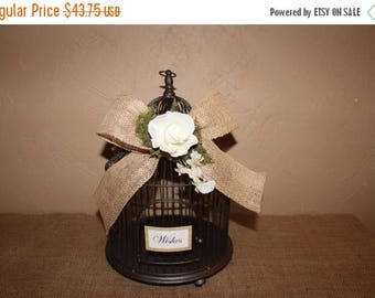 ON SALE Wedding Birdcage Cardholder / Rustic Wedding Wishes Birdcage / Wedding Cardholder