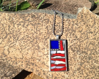 Patriotic Necklace/Patriotic Jewelry/Stained Glass Mosaic Necklace/Mosaic Necklace/Red, White & Blue Necklace/Flag Necklace/Flag Jewelry/124
